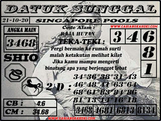 Kode syair Singapore Rabu 21 Oktober 2020 137