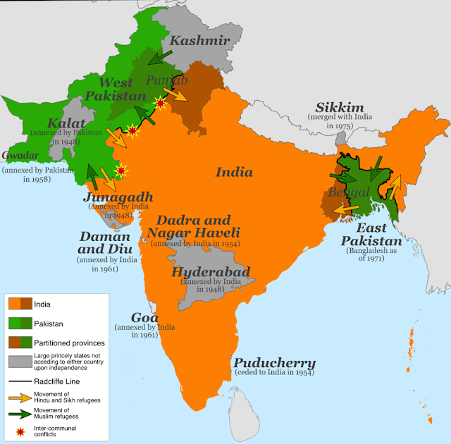 Partition of India Map
