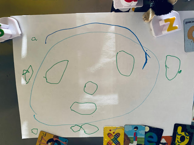Little's first portrait of me is a large face with eyes, nose, mouth, ears, a small amount of hair and 2 chins