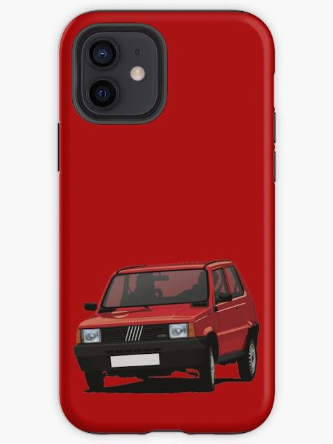 Cornering red Fiat Panda mobile phone cover