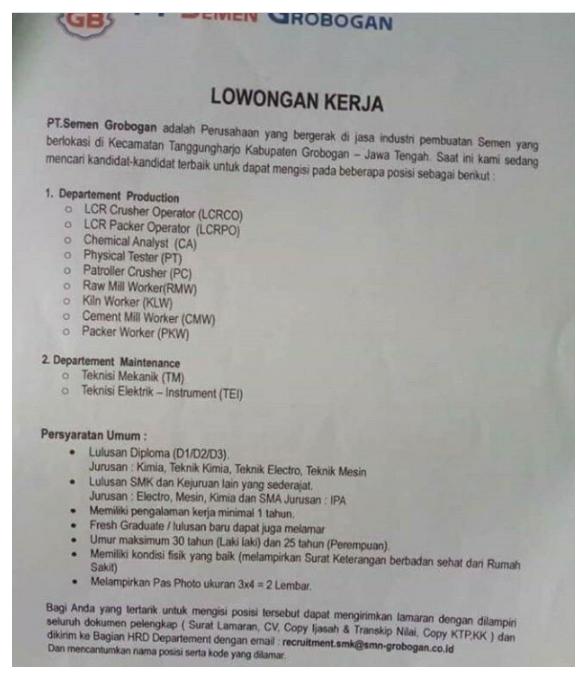 Lowongan Kerja SMA D3 PT Semen Grobogan September 2020