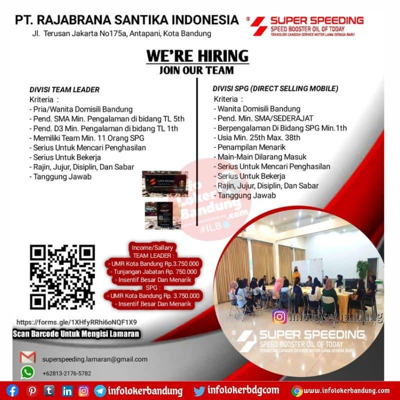 Lowongan Kerja PT. Rajabrana Santika Indonesia Bandung Agustus 2021