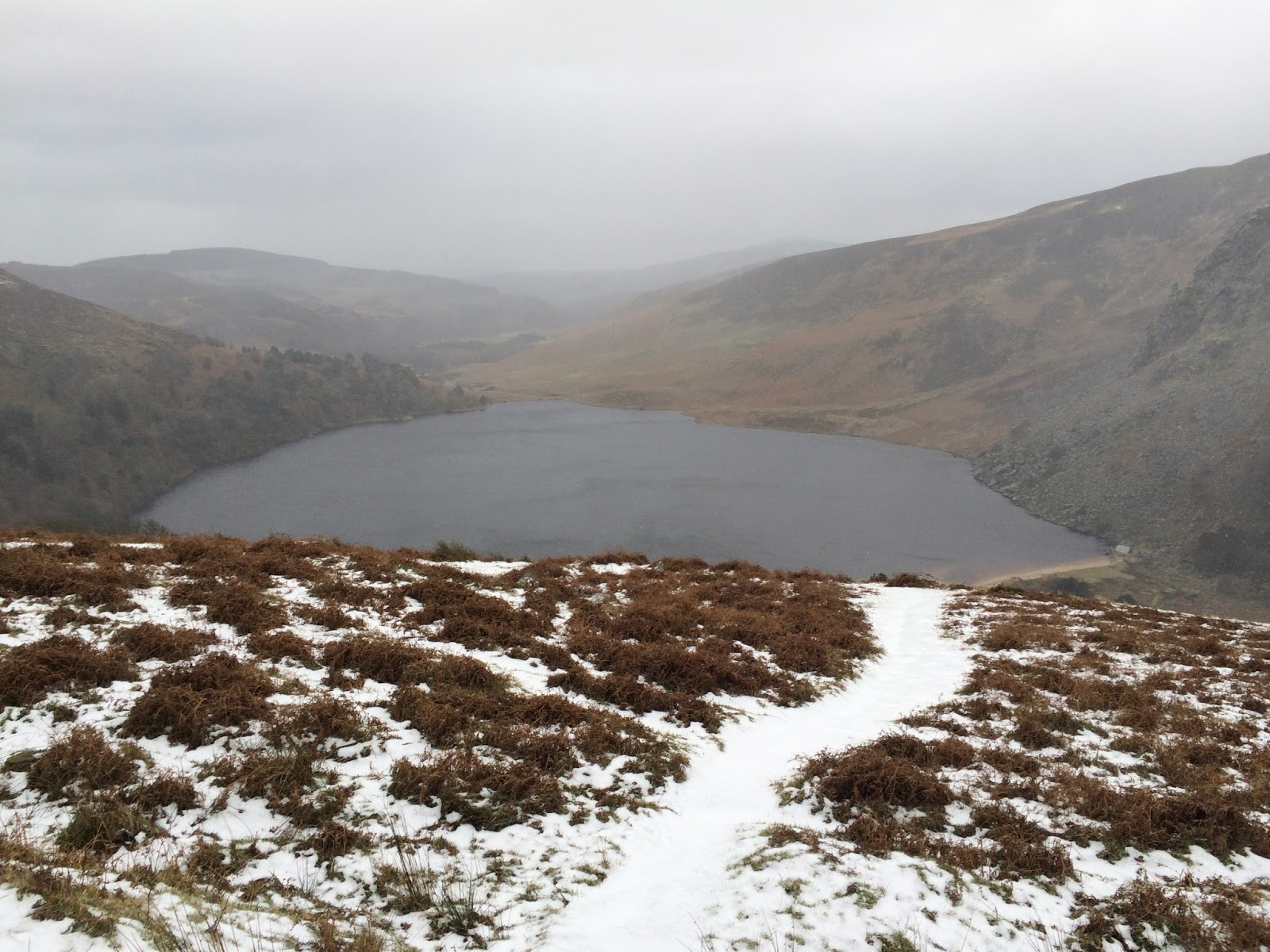 View on Lough Tay, Ireland from the old military road