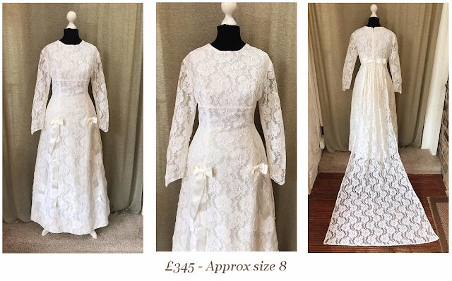 full lace long sleeve bow detail long train 1960's priscilla presley vintage wedding dress from vintage lane bridal boutique bolton