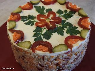 Salata de boeuf romaneasca reteta de casa cu pui retete mancare gustare garnitura aperitiv craciun pasti revelion carne legume maioneza olivier a la russe,