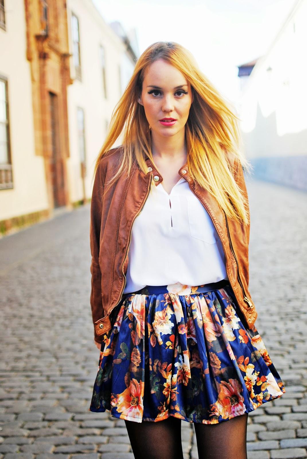 sammydress, nery hdez, floral skirt, leather jacket