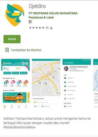 OjekBro, Aplikasi Ojek online
