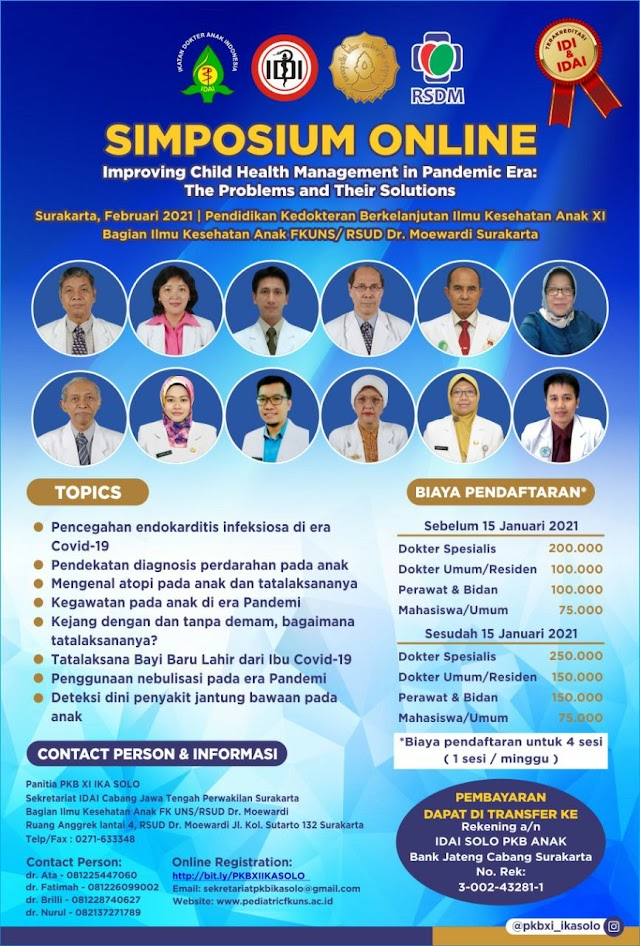 Simposium Online: Improving Child Health Management in Pandemic Era: The Problems and Their Solutions
