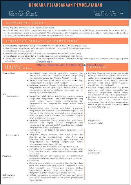 Contoh Format RPP INSPIRATIF SMP PAK dan BP Kelas VII Tahun 2020/2021