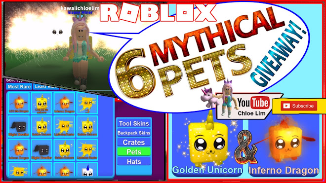 Roblox Mining Simulator Gameplay! 6 Mythical Pets GIVEAWAY: 3 Golden Unicorn and 3 Inferno Dragon
