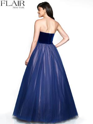 Classic Velvet Strapless tulle Flair Prom royal-nude dress
