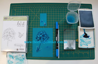 SU, #thecraftythinker, Monochrome watercolour tutorial, Best Thoughts, handmade card