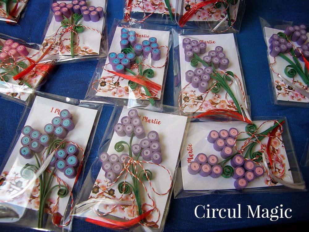 Martisoare 2015  Zambilute struguras, flori quilling Circul Magic de hartie