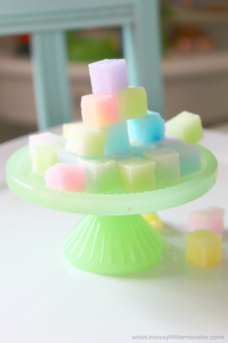 coloured sugar cubes science project for kids