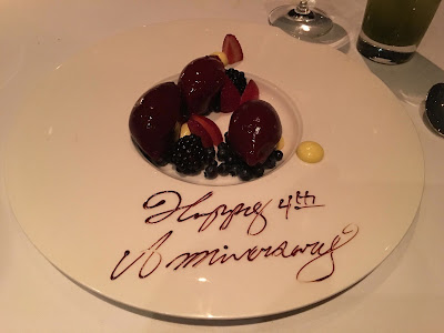canlis berry dessert for fourth wedding anniversary
