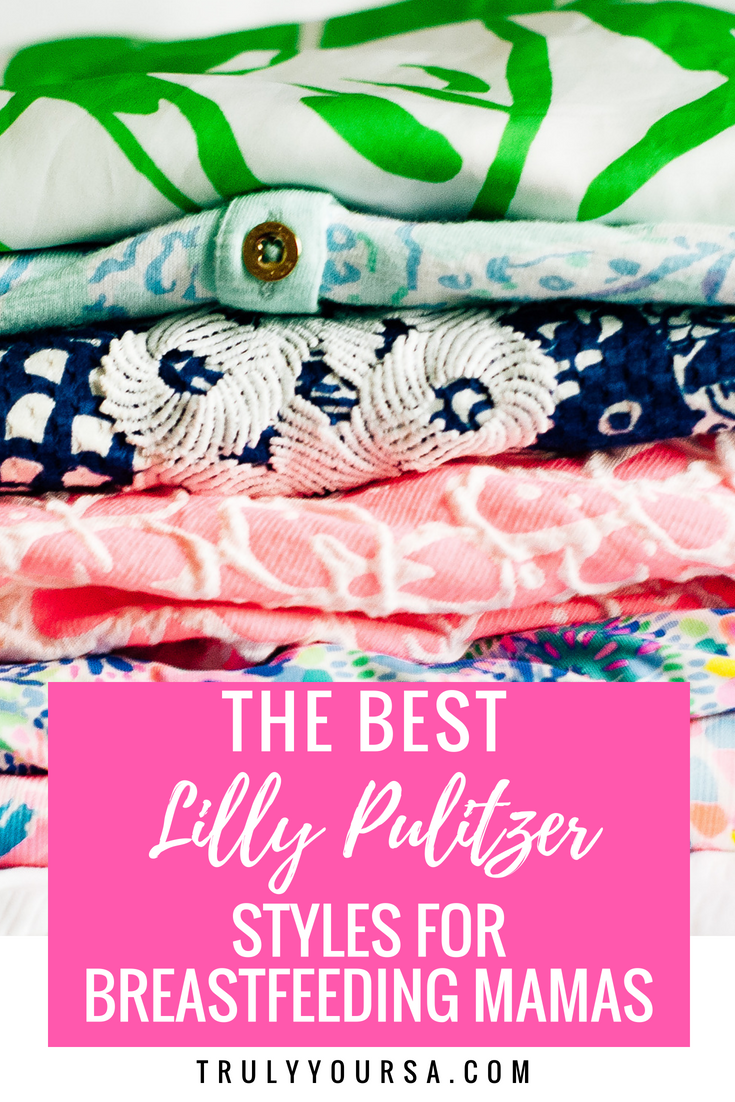 It's officially summer and, if you haven't already, time to pull out all of those beautiful Lilly Pulitzer pieces in your closet! Lately, I've been obsessed with all the new prints like Mermaids Cove, Pinch Pinch, and Jet Stream. As I was browsing a Lilly BST (buy, sell, trade) group on Facebook (no doubt trying to expand my collection of items in my all-time favorite prints, Fan Sea Pants and So Snappy), a member posed a question about the best Lilly pieces for breastfeeding mamas. It was a great question that NEEDS answers since it's prime Lilly-wearing time, so I did all the dirty work and came up with 10 Lilly Pulitzer pieces that are perfect  for breastfeeding mamas. Whether you wear your Lilly to work or a (not so) quick trip to the grocery store, these are the pieces that will make nursing or pumping a little bit easier. #SummerInLilly #LillyPulitzer #BuyMeLilly #Breastfeeding #Nursing #Pumping