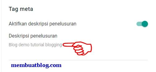 Contoh Tag Meta Deskripsi Penelusuran Blog