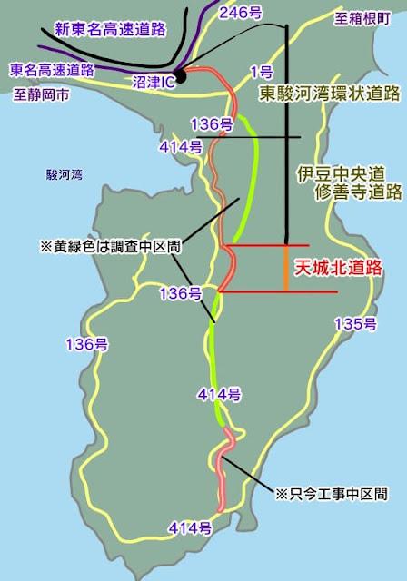 伊豆縦貫自動車道と天城北道路の地図