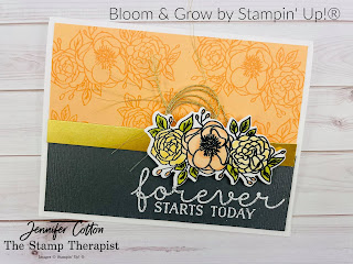 This card uses the Bloom & Grow bundle by Stampin' Up!.  The images are colored in with Stampin' Blends.  See the blog post for supply list and video.  #StampinUp #StampTherapist #BloomandGrow