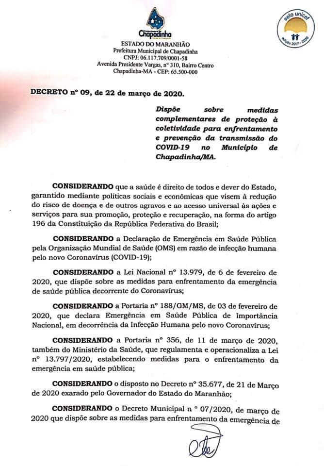 Urgente!  (Convid19) Em Chapadinha,  novo decreto suspende FUNCIONAMENTO de bares, restaurantes e outros...
