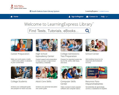 screenshot of learning express library web page