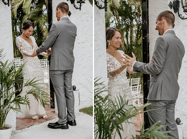 Bride reacting seeing Groom for First Look The Manor on St Lucie Crescent Wedding captured by Stuart Wedding Photographer Heather Houghton Photography
