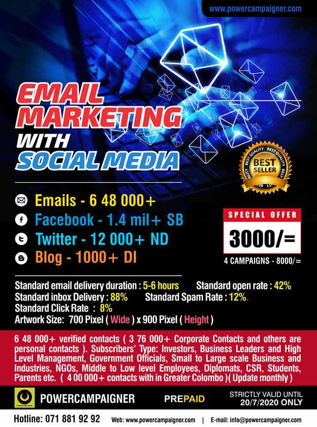 Email Marketing Campaign with Social Media | 3000/= |  ( Blog, Facebook and Twitter)