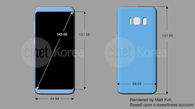 Leaked Samsung Galaxy S8 and S8 Plus schematics confirms design and dimensions