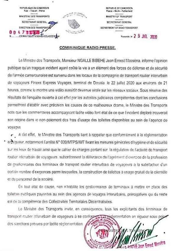 Ministry of Transport Notice to inter-urban transport agencies