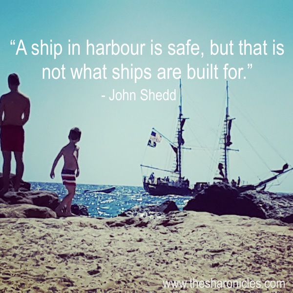 Cruise ship saying: A ship in harbor is safe but that's not what ships are built for