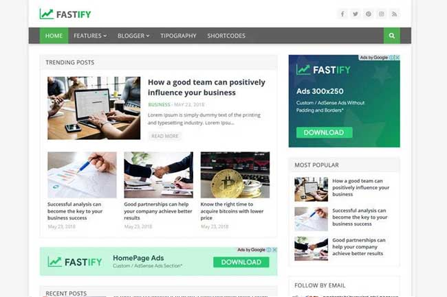 Fastify-Blogger Template