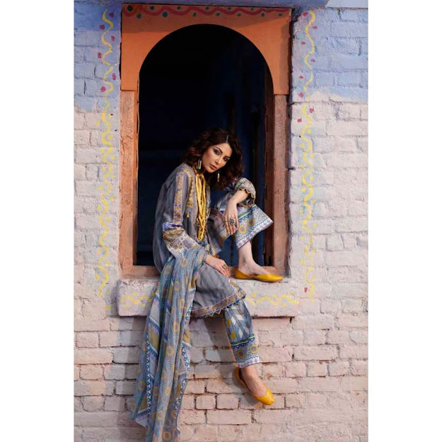 Gul Ahmed 3 piece cotton suit grey color new arrivals collection