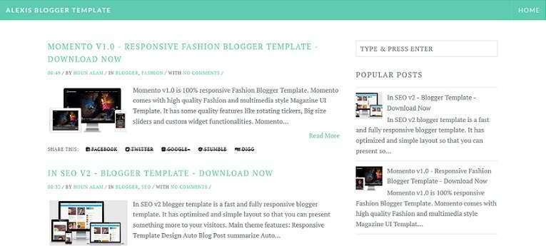 Alexis - Minimal Blogger Template - Blog