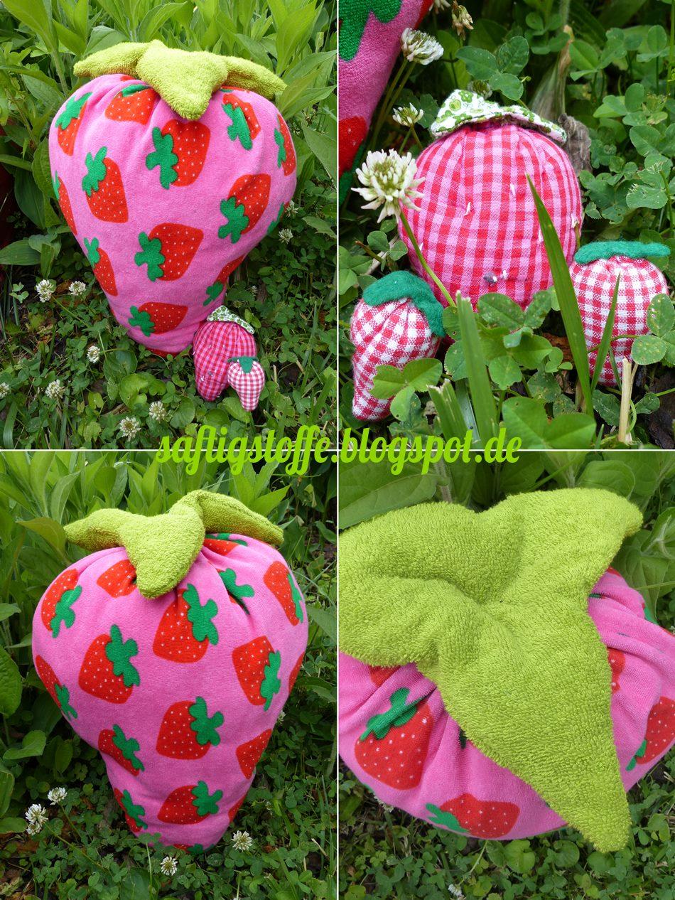 Riesen-Erdbeere aus Frottee-Stoff im Garten