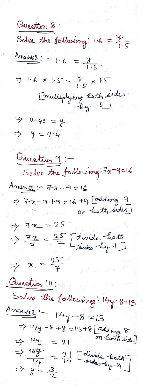 NCERT Solution Linear Equations in One Variable Class 8 Math