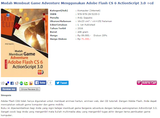 Buku mudah membuat game petualangan dengan adobe flash cs 6, actionscript 3.0