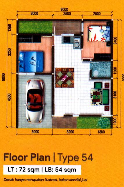 Floor Plan Tipe 54 Rumah Murah Dekat Lottemart Gatot Subroto Medan Diskon 50 JUTA Hanya 11 Unit di D'Grand Gatsu