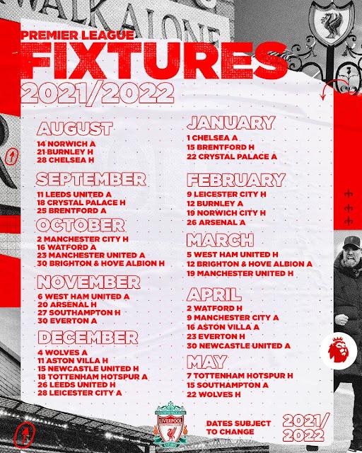 جدول مباريات ليفربول فى الدوري الانجليزي للموسم2021/2022