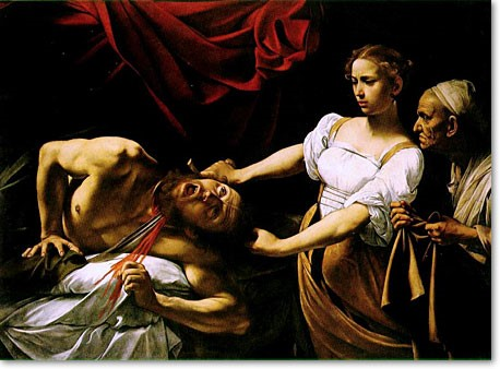"""""""Judith Beheading Holofernes"""" by Caravaggio 1598-1599_psartworks.in"""