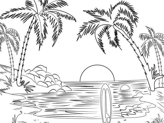Sketsa gambar pemandangan