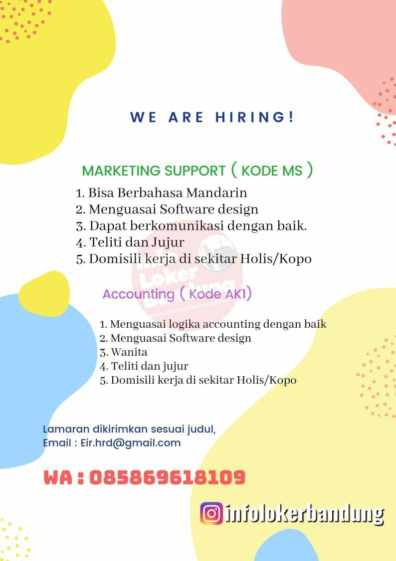 Lowongan Kerja Marketing Support & Accounting Eir Bandung Oktober 2019