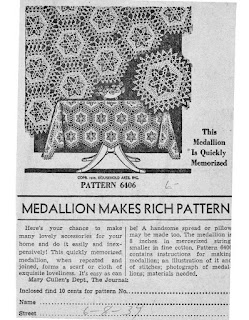 Medallion Crochet Pattern Newspaper Ad