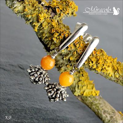 Miracolo, kolczyki z żółtym agatem, żółty agat, żółty jadeit, yellow agate, yellow agate earrings