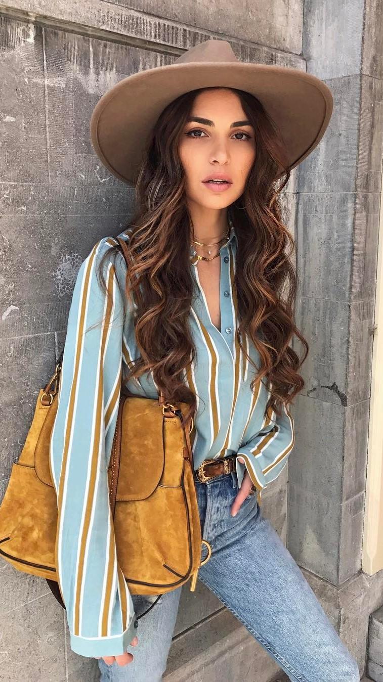 summer boho style addict: hat + bag + shirt + jeans