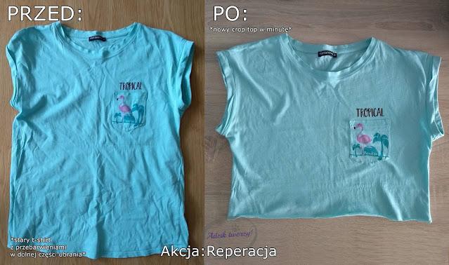 crop top z tshirtu jak zrobić - Akcja:Reperacja u Adzika