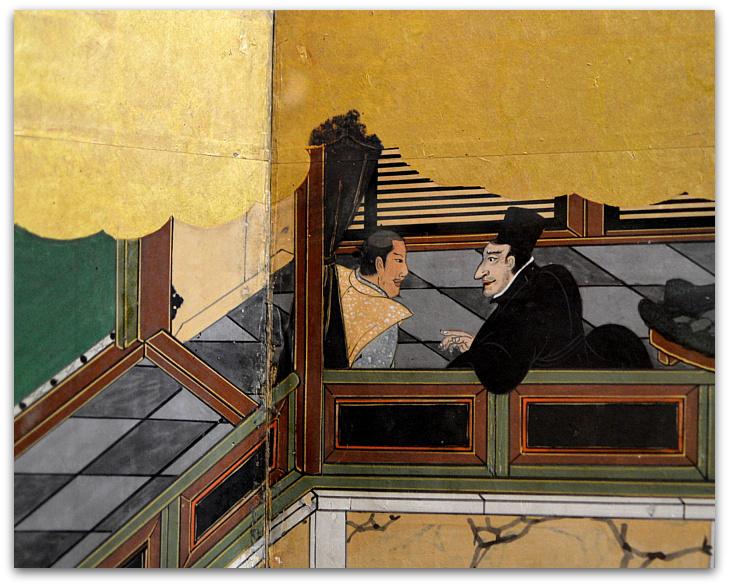 Resultado de imagem para pormenores dos biombos de namban  do museu de arte antiga