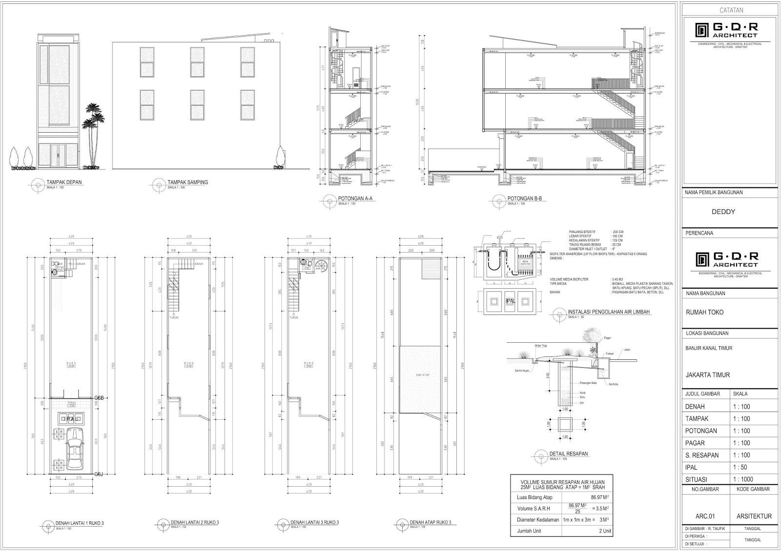 3 Desain Gambar IMB Ruko
