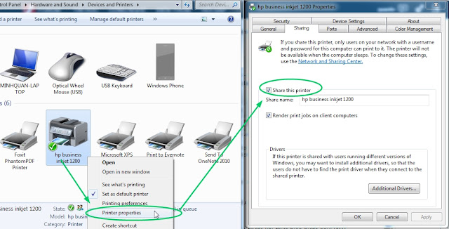 Cài đặt share máy in giữa các máy tính trong mạng LAN Windows xp 7 10