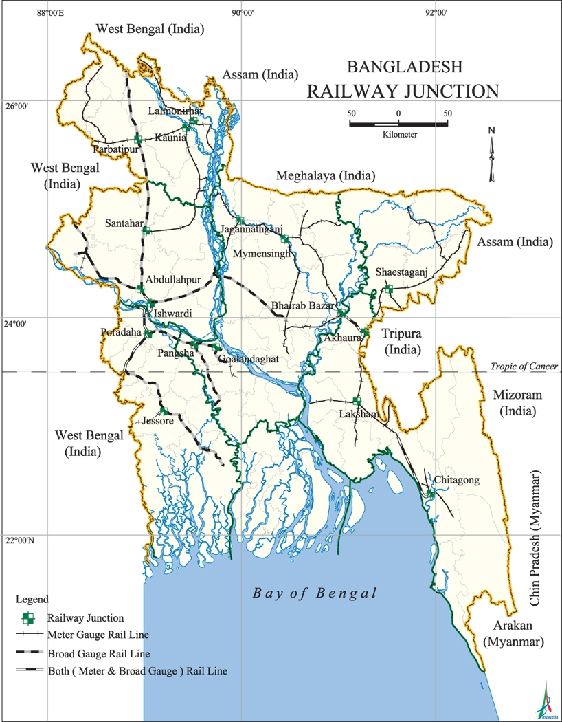Railway Junctions Map Bangladesh