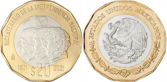 Mexico 20 pesos 2021 - Bicentennial of Mexico's Independence